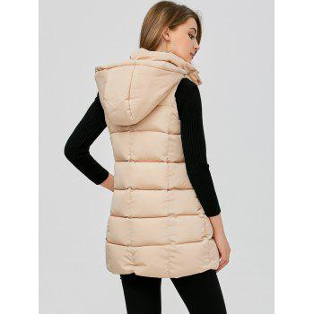 Zip Fly Long Hooded Down Vest - KHAKI M