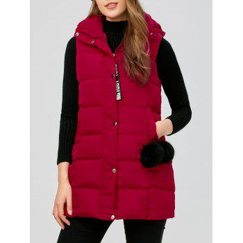 Zip Fly Long Hooded Down Vest - RED RED