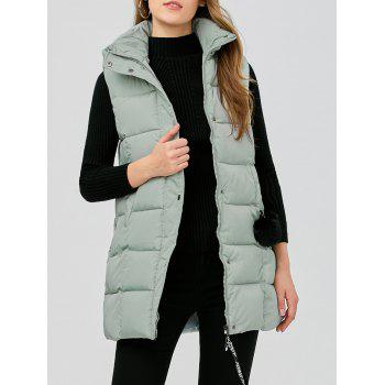 Zip Fly Long Hooded Down Vest
