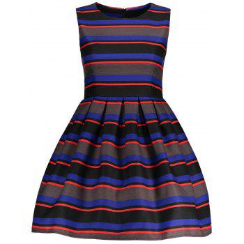 Sleeveless Colored Stripe Fit and  Flare Dress