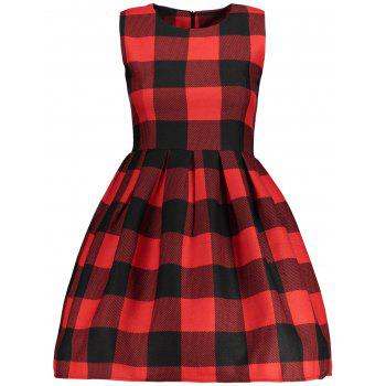 Sleeveless Checked Fit and  Flare Dress