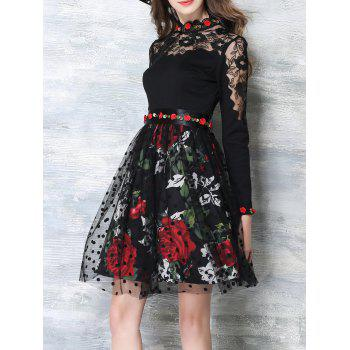 See-Through Floral Mesh Insert Flare Dress