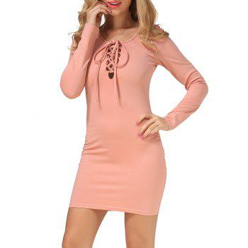Long Sleeve Lace Up T-Shirt Dress