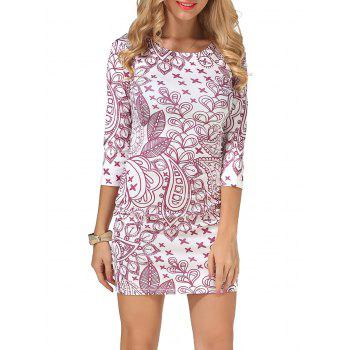 Ornate Printed Mini Dress