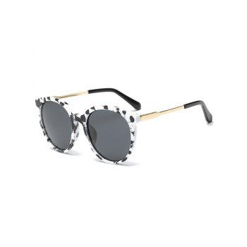 Metal Leg Cow Pattern Cat Eye Sunglasses