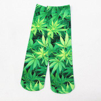 3D Hemp Leaf Print Crazy Socks