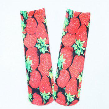 3D Strawberry Print Crazy Socks