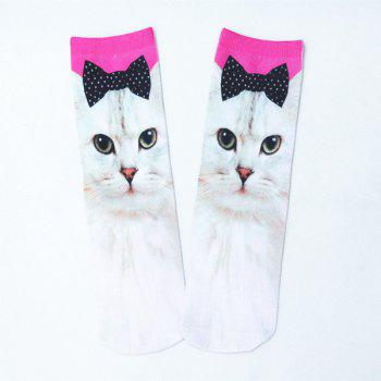 3D Bowknot Cat Print Crazy Socks