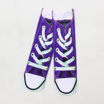 3D Canvas Shoes Print Crazy Socks - PURPLE PURPLE
