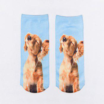3D Dog Listening Music Print Crazy Socks