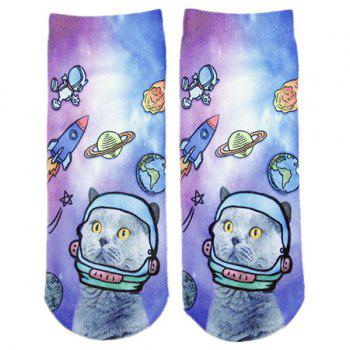 Cartoon Space Cat Print Crazy Socks