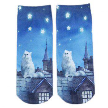 Cartoon Rooftop Cat Print Crazy Socks
