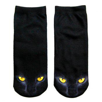 3D Black Cat Print Crazy Socks - BLACK BLACK
