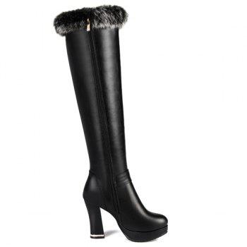 Buckle Strap Platform Fringe Knee High Boots - BLACK 39