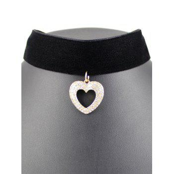 Rhinestone Hollow Heart Wide Velvet Choker