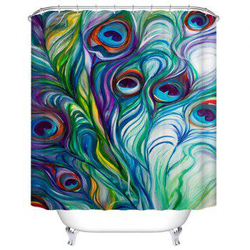 Peacock Feather Mildewproof Waterproof Bathroom Curtain