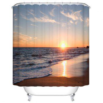 Sea Sunset Print Mildewproof Waterproof Bathroom Curtain
