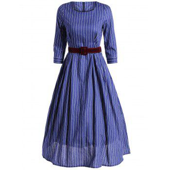 Vertical Stripe Tea Length Vintage Dress