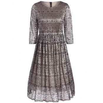 Gold Inlay Lace Midi Dress