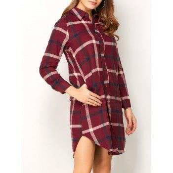 Checked Button Up Slit Blouse