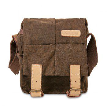 Double Buckles Canvas Photo Bag - COFFEE COFFEE