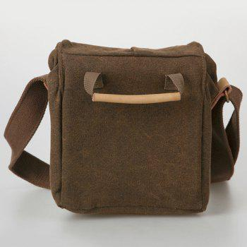 Double Buckles Canvas Photo Bag -  COFFEE