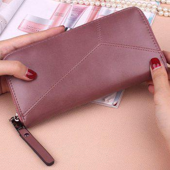 Zip Around PU Leather Wallet -  PINKISH PURPLE