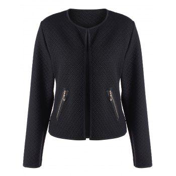 Panel Collarless Textured Jacket