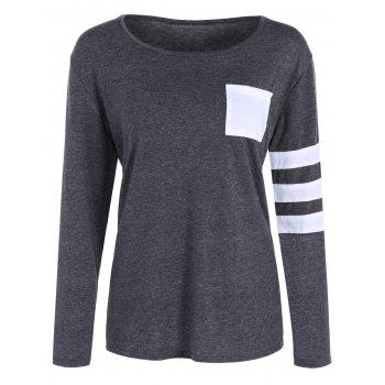 Panel Cottong Long Sleeve Front Pocket Tee
