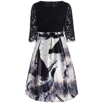 Ink Painting Lace Insert Knee Length Dress