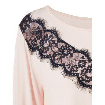 Plus Size Lace Panel Long Asymmetric T-Shirt - NUDE PINK NUDE PINK