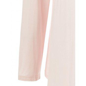 Plus Size Lace Panel Long Asymmetric T-Shirt - NUDE PINK 2XL