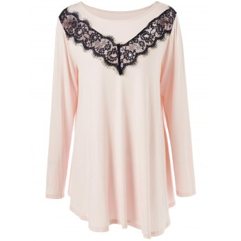 Plus Size Lace Panel Asymmetric T-Shirt