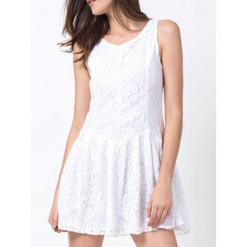 Round Neck Lace Mini Dress