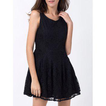 Round Neck Lace Mini Skater Dress