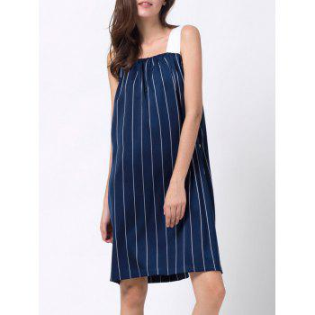 Single-Breasted Striped Tank Dress