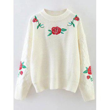 Rose Embroidered Chunky Sweater