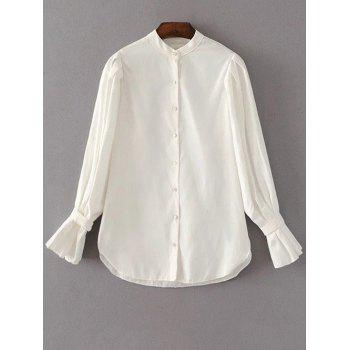 Button Up Frilled Cuffs Chiffon Blouse