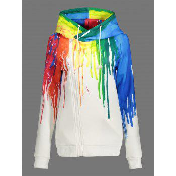Drawstring Splatter Paint Zip Up Hoodie