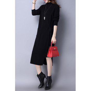 Mock Neck Asymmetric Sweater Dress - ONE SIZE ONE SIZE