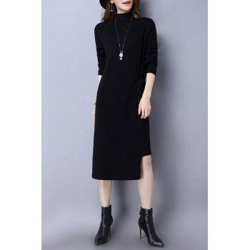 Mock Neck Asymmetric Sweater Dress - BLACK ONE SIZE