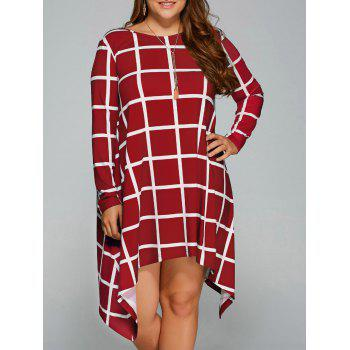 Plus Size Asymmetrical Plaid Long Sleeve Dress