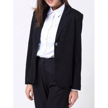 Lapel Collar Back Slit Blazer - BLACK BLACK