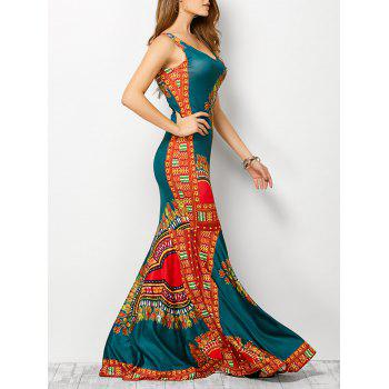 Bohemian Tribe Print Long Fitted Mermaid Dress