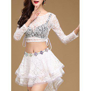 Lace Long Sleeve Top With Layered Skirt - WHITE WHITE