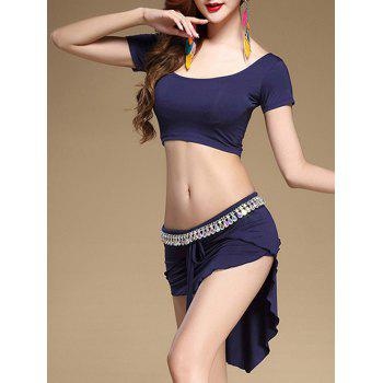 Crop Top With High Low Drawstring Skirt - DEEP BLUE M