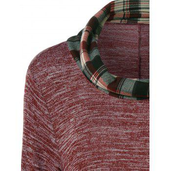 Plus Size Plaid Panel Longline T-Shirt - BRICK RED BRICK RED