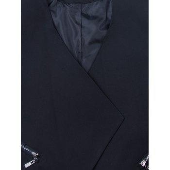 Zipper Open Front Draped Blazer - BLACK M
