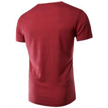 Round Neck Slimming Stylish Letter Print Short Sleeve Men's Polyester T-shirt - WINE RED XL