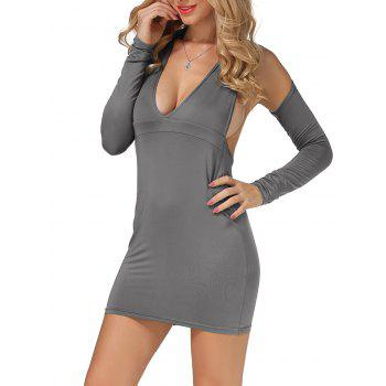 Cold Shoulder Open Back Bodycon Party Bandage Dress - GRAY S